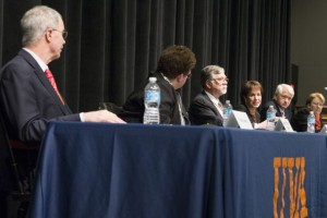 From left, the presidents of Dartmouth, Amherst, Montana, North Carolina, UCLA and Virginia speak at the University of Virginia's dialogue on sexual misconduct.