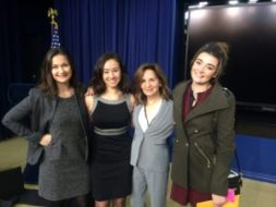 With Office of the Vice President staff Cailin Crockett, Kristina Rose, and Olivia