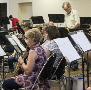 rehearsing in fellowship hall