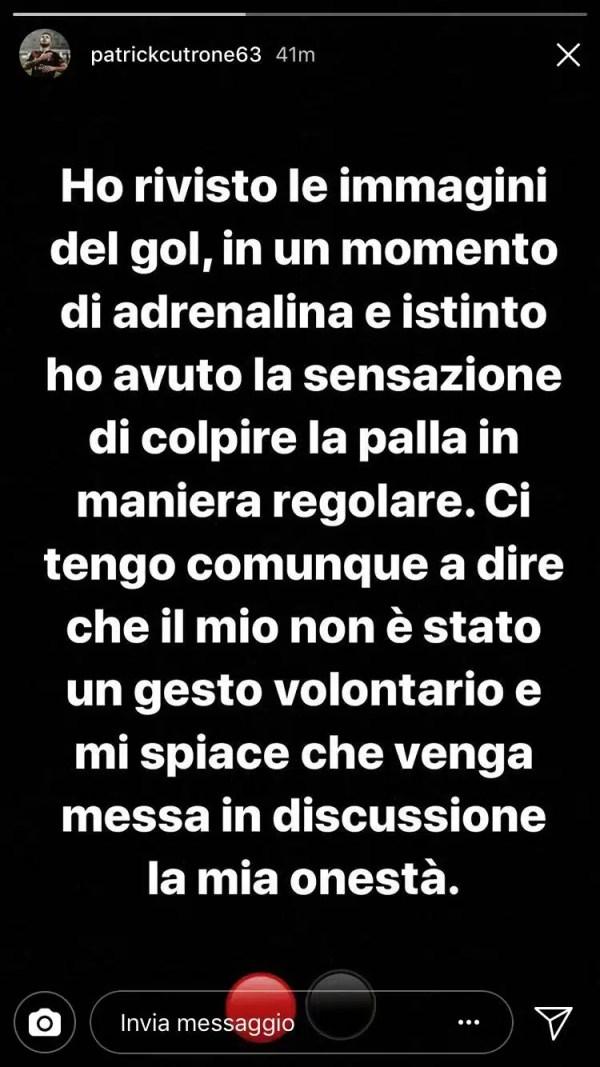 Storia Instagram Patrick Cutrone