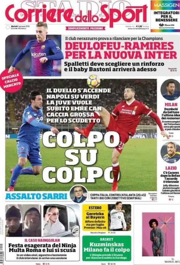 prima pagina corriere 23 gennaio