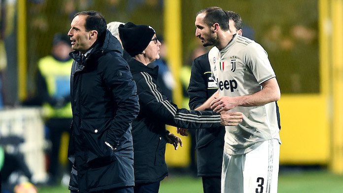 Db Bergamo 30/01/2019 - Coppa Italia / Atalanta-Juventus / foto Daniele Buffa/Image Sport nella foto: Giorgio Chiellini-Massimiliano Allegri