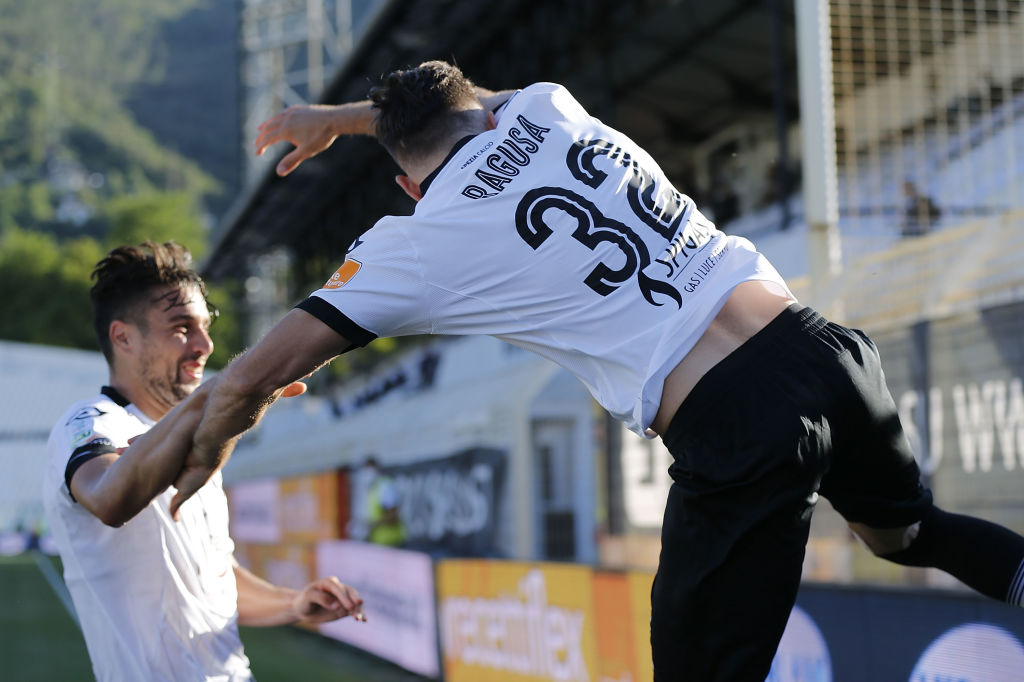 LA SPEZIA, ITALY - JUNE 19: Antonino Ragusa of ASC Spezia celebrates after scoring a goal during the serie B match between ASC Spezia and FC Empoli on June 19, 2020 in La Spezia, Italy.  (Photo by Gabriele Maltinti/Getty Images)
