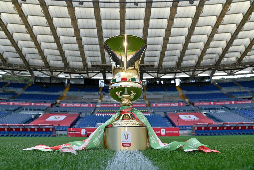 ROME, ITALY - JUNE 16: The trophy at the Olympic stadium prior the Coppa Italia Final match between Juventus and SSC Napoli winner at Olimpico Stadium on June 16, 2020 in Rome, Italy. (Photo by Marco Rosi/Getty Images)