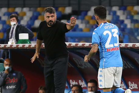 Napoli's head coach Rino Gattuso gestures during Italian Serie A soccer  match between SSc Napoli and Genoa CFC at the San Paolo stadium in Naples,  27 September 2020. ANSA / CESARE ABBATE