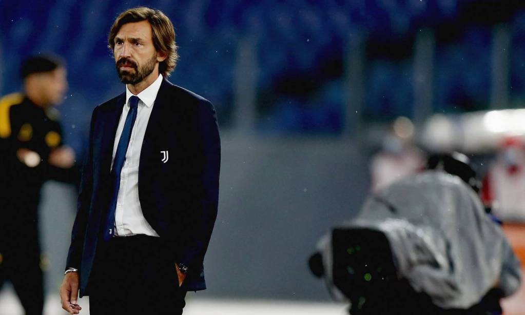 ROME, ITALY - SEPTEMBER 27:  Juventus head coach Andrea Pirlo looks on during the Serie A match between AS Roma and Juventus at Stadio Olimpico on September 27, 2020 in Rome, Italy.  (Photo by Paolo Bruno/Getty Images) *** Local Caption *** Andrea Pirlo