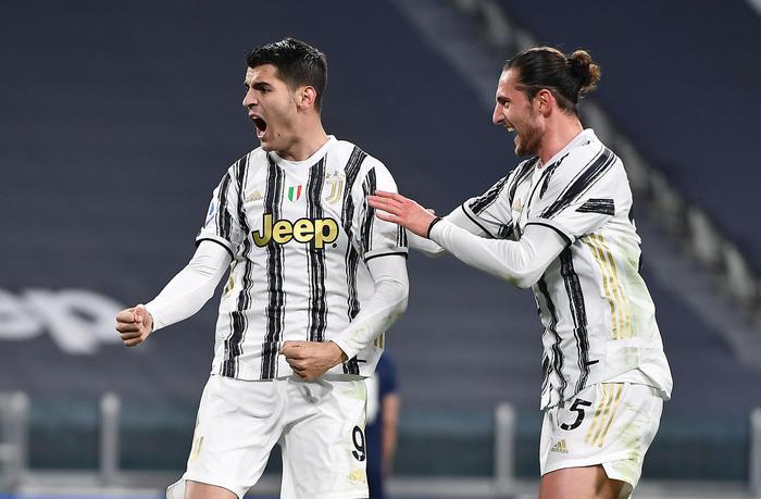 Juventus' Alvaro Morata jubilates after scoring the goal (3-1) during the italian Serie A soccer match Juventus FC vs SS Lazio at the Allianz stadium in Turin, Italy, 6 March 2021 ANSA/ALESSANDRO DI MARCO