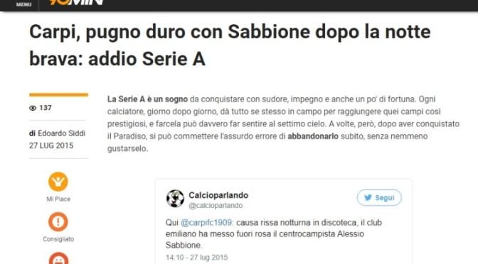 Rassegna Stampa: Calcioparlando a 90 minuti.com