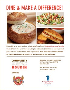 Boudin at UTC Dining Fundraiser @ Boudin at UTC Shopping Center | San Diego | California | United States