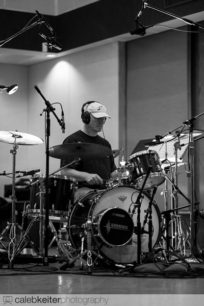 Bob Sail recording drums at Studio West of San Diego