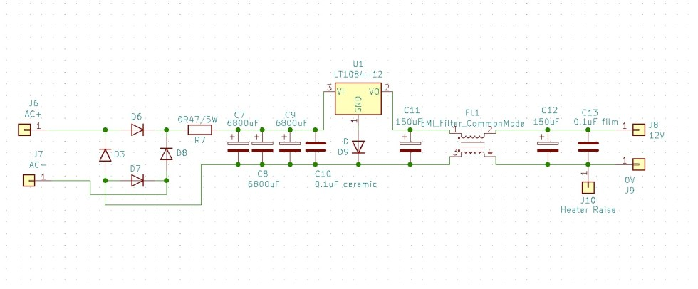 Phono Classique heater filament regulated power supply schematic.