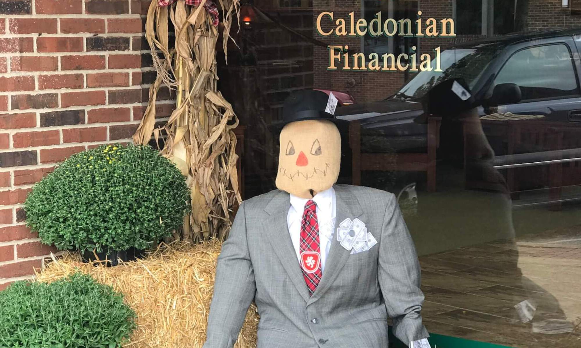 Caledonian Financial's entry in the Maury County Visitors Bureau scarecrow contest.