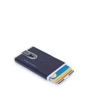 """Piquadro porta carte di credito in metallo e pelle """"B2R – Blue Square"""" PP4825B2R.BLU2"""
