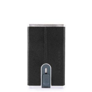 """Piquadro porta carte di credito in metallo e pelle """"B3R – Black Square"""" Nero PP4825B3R.N"""