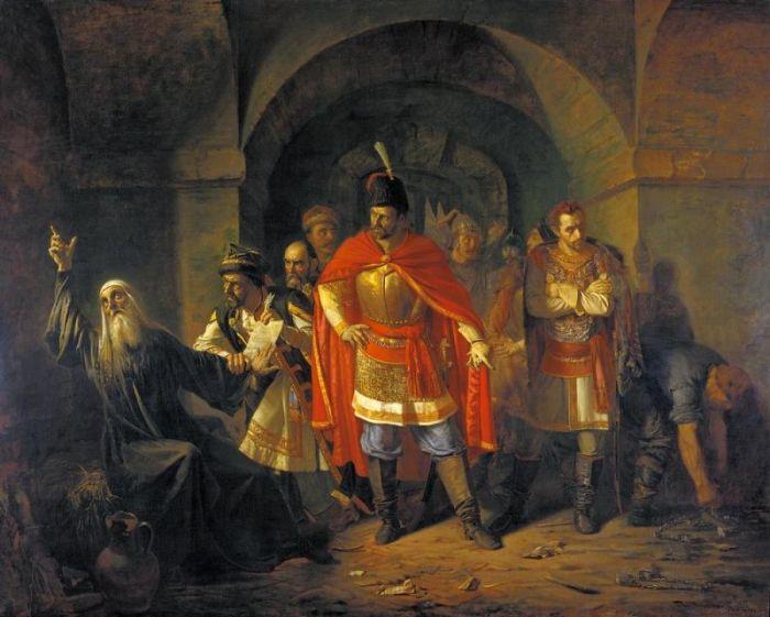 «Патриарх Гермоген в темнице отказывается подписать грамоту поляков», 1860