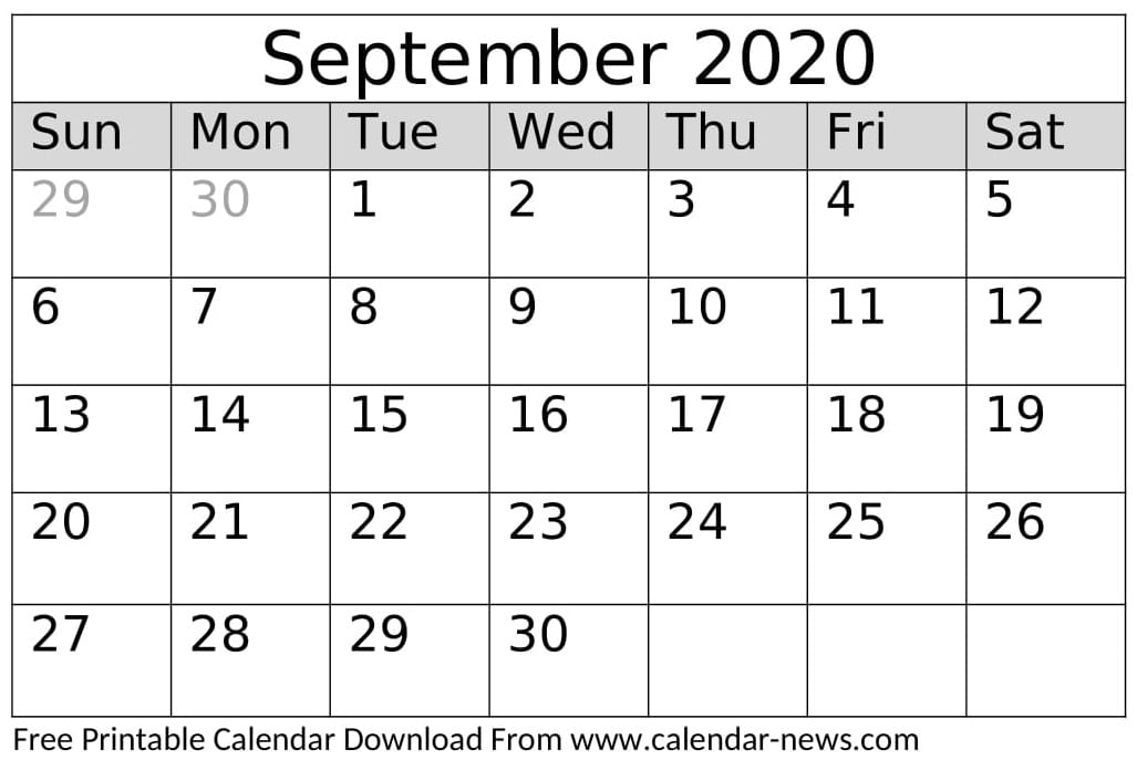 September 2020 Calendar Printable Template