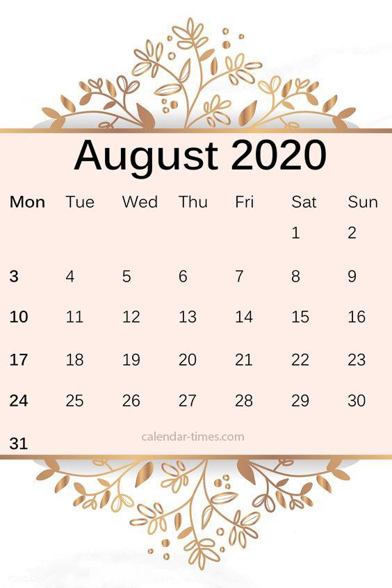 Cute August 2020 Calendar