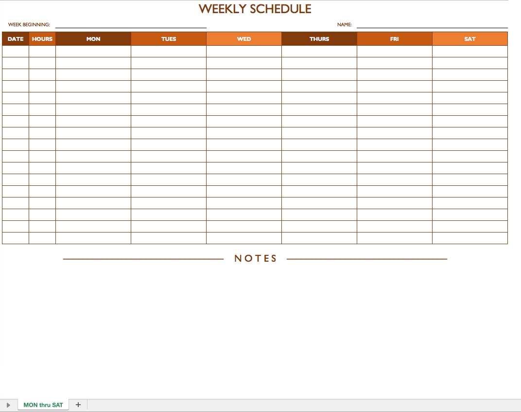 Monday To Sunday Schedule Free Calendar Template