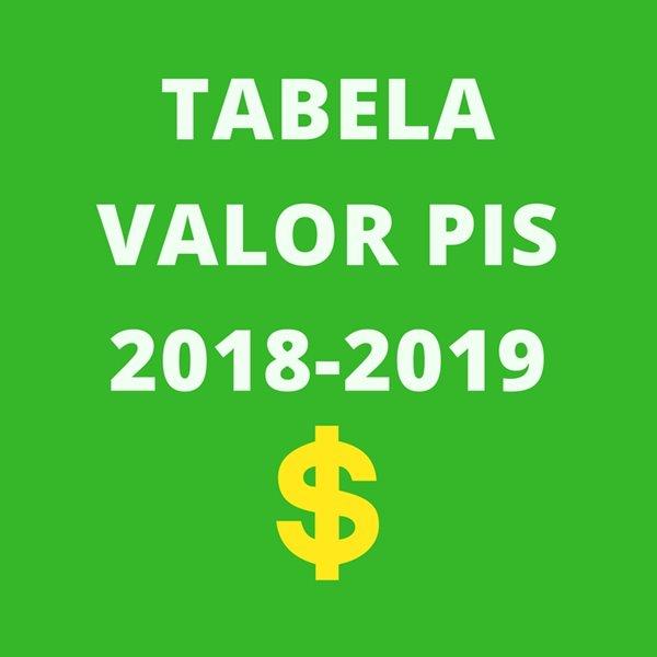 tabela valor do PIS 2018-2019