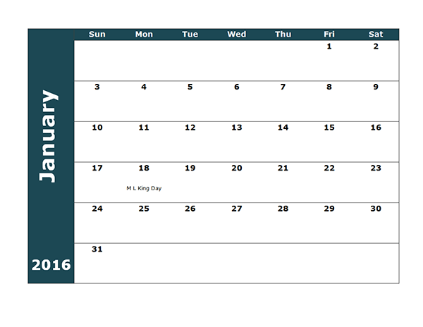 View Calendar: 2016 Four Monthly Calendar Template