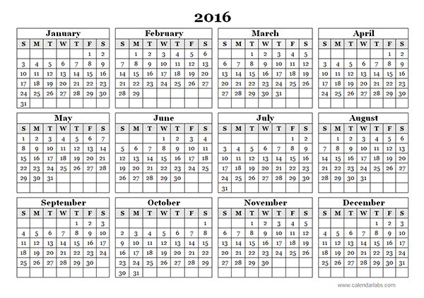 View Calendar: 2016 Yearly Calendar Template 09