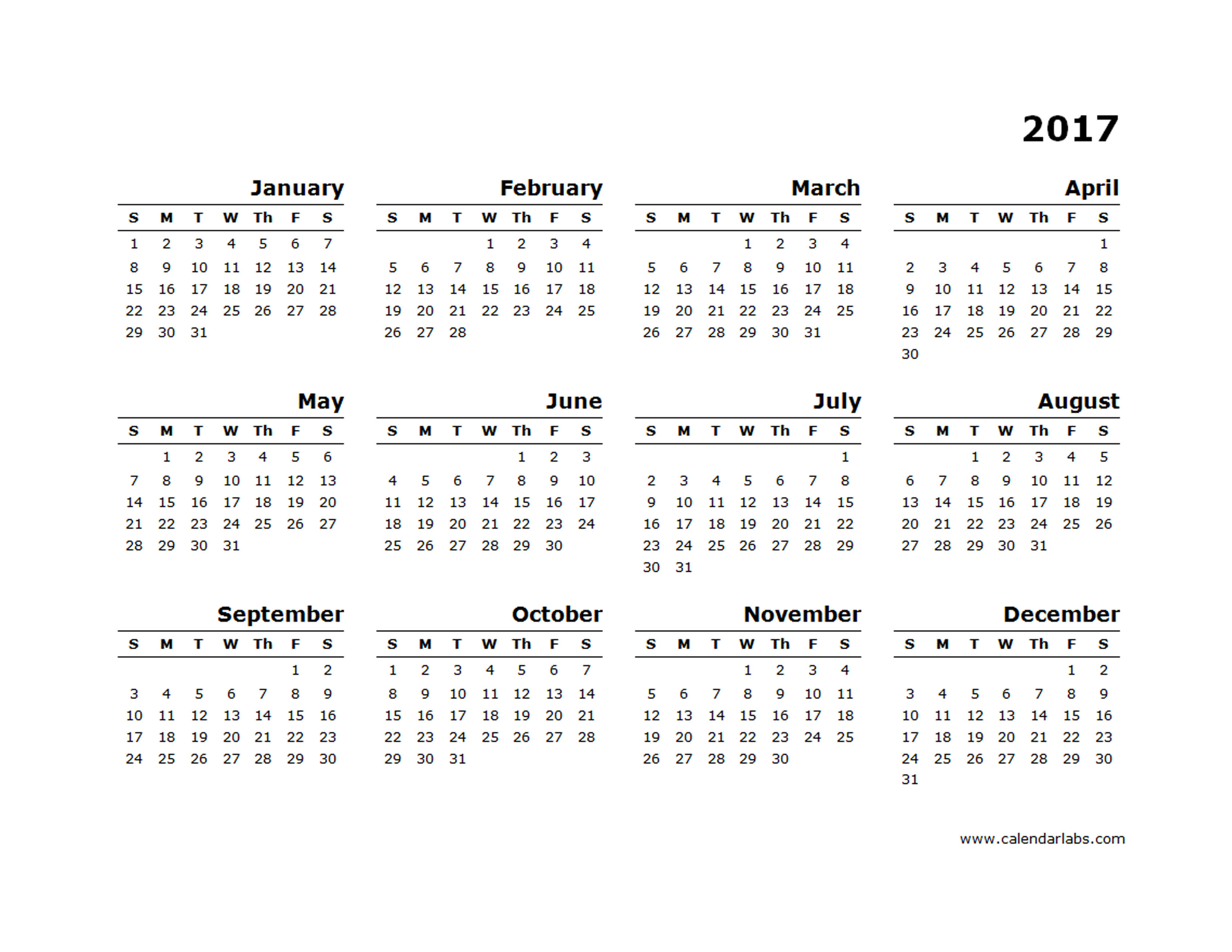 Yearly Calendar Blank Minimal Design