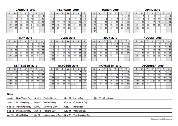 2019 PDF Yearly Calendar With Holidays Free Printable Templates