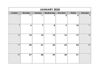 Blank Calendar 2020 Template Free Printable Blank Monthly