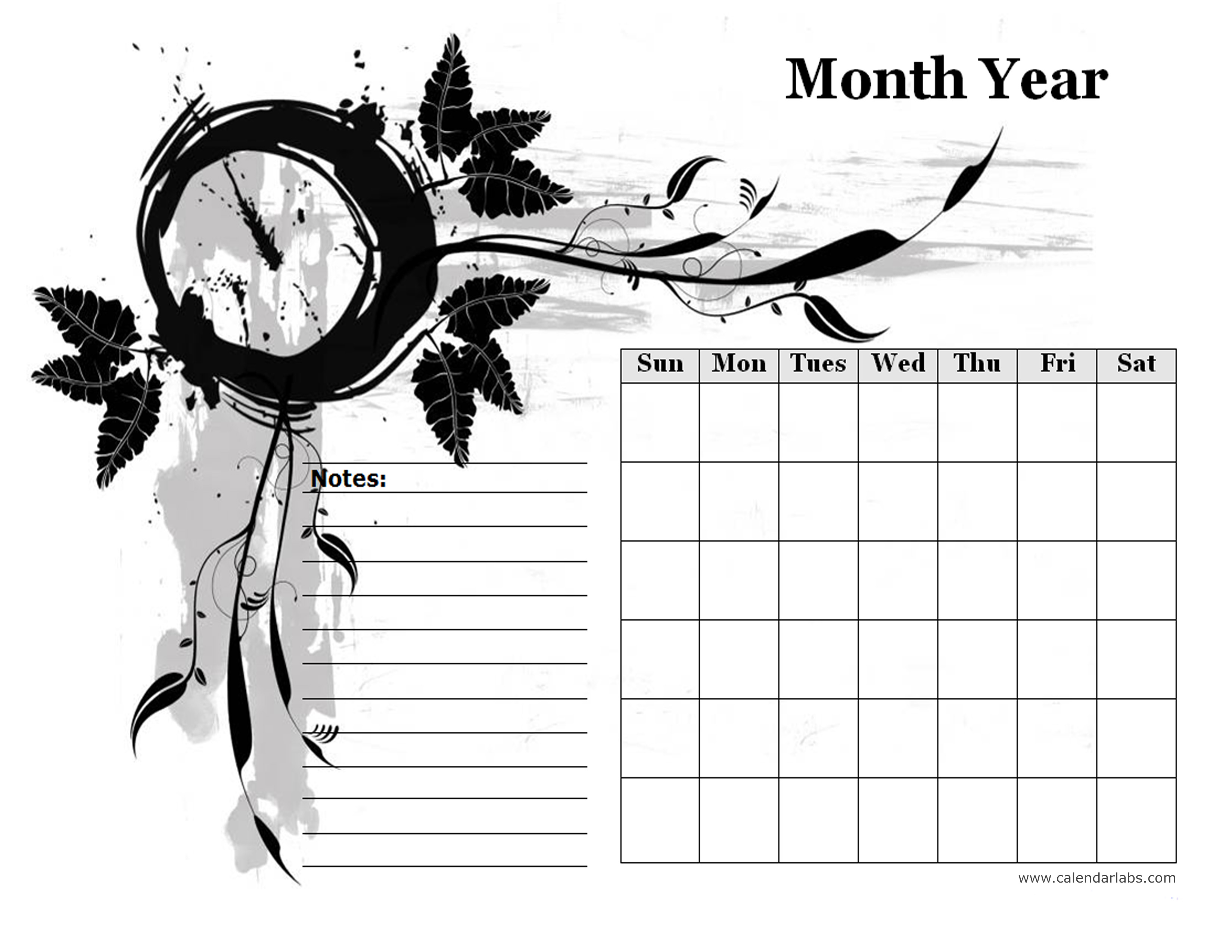 Monthly Blank Calendar In Designer Monochrome Free Printable Templates
