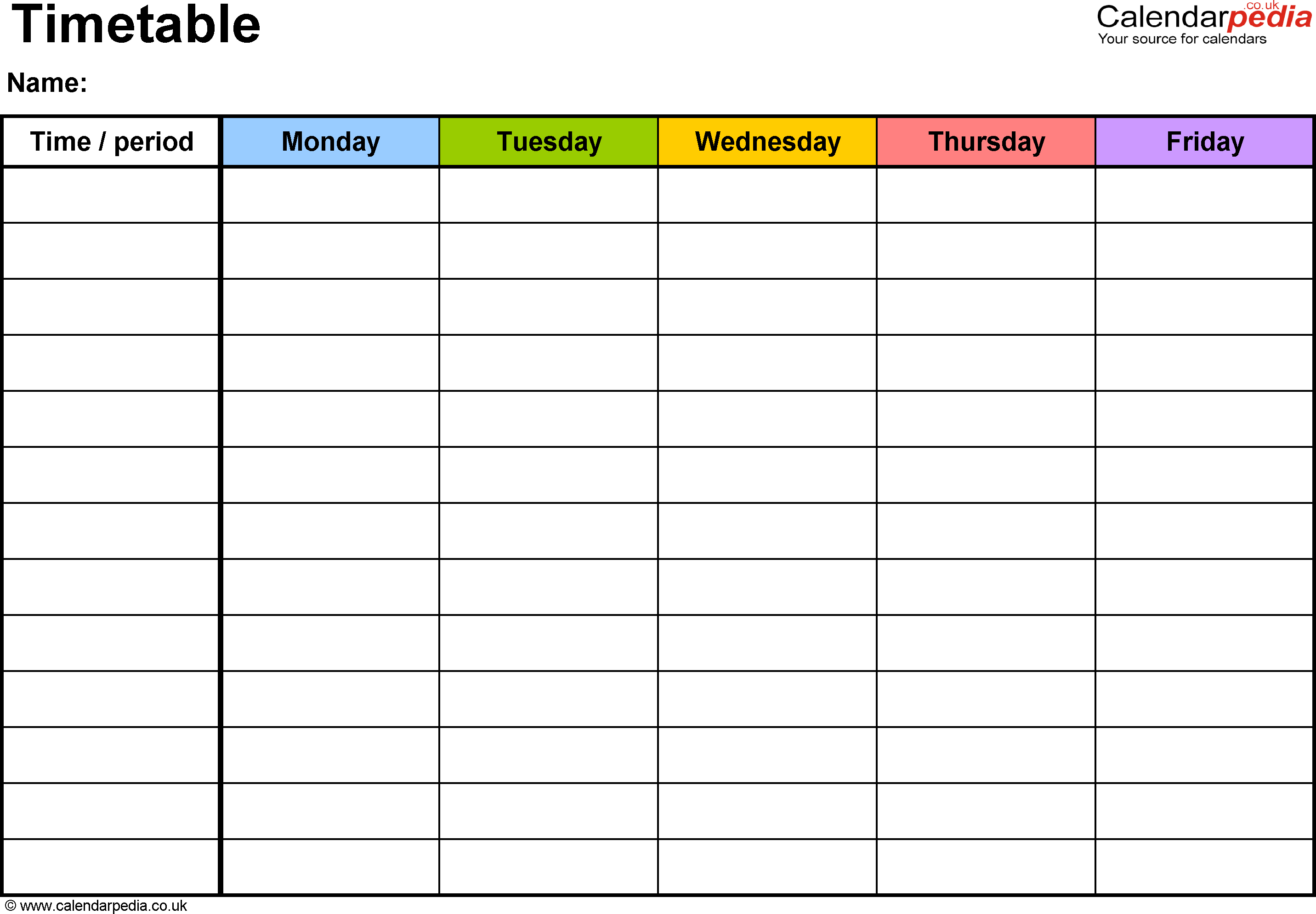 Timetable Templates For Microsoft Word