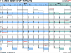 Financial Calendars 20 Uk In Microsoft Excel Format