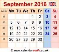 Calendar September 2016 UK, Bank Holidays, Excel/PDF/Word ...