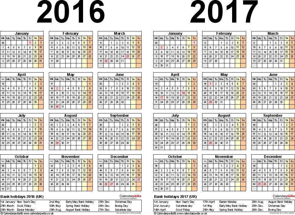 template 2 word template for two year calendar 2016 2017 landscape