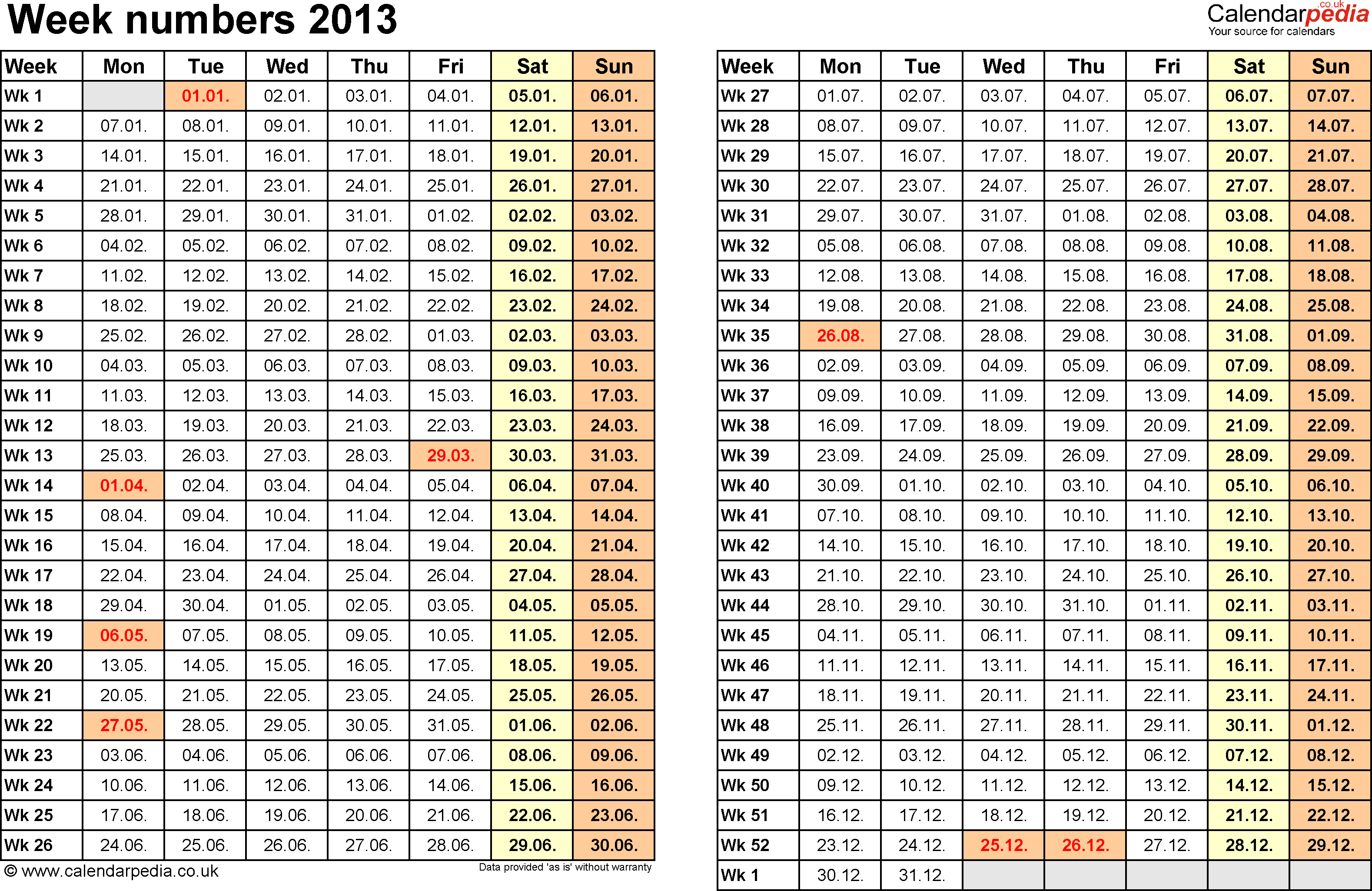 Week Numbers With Bank Holidays Amp Excel Word Templates