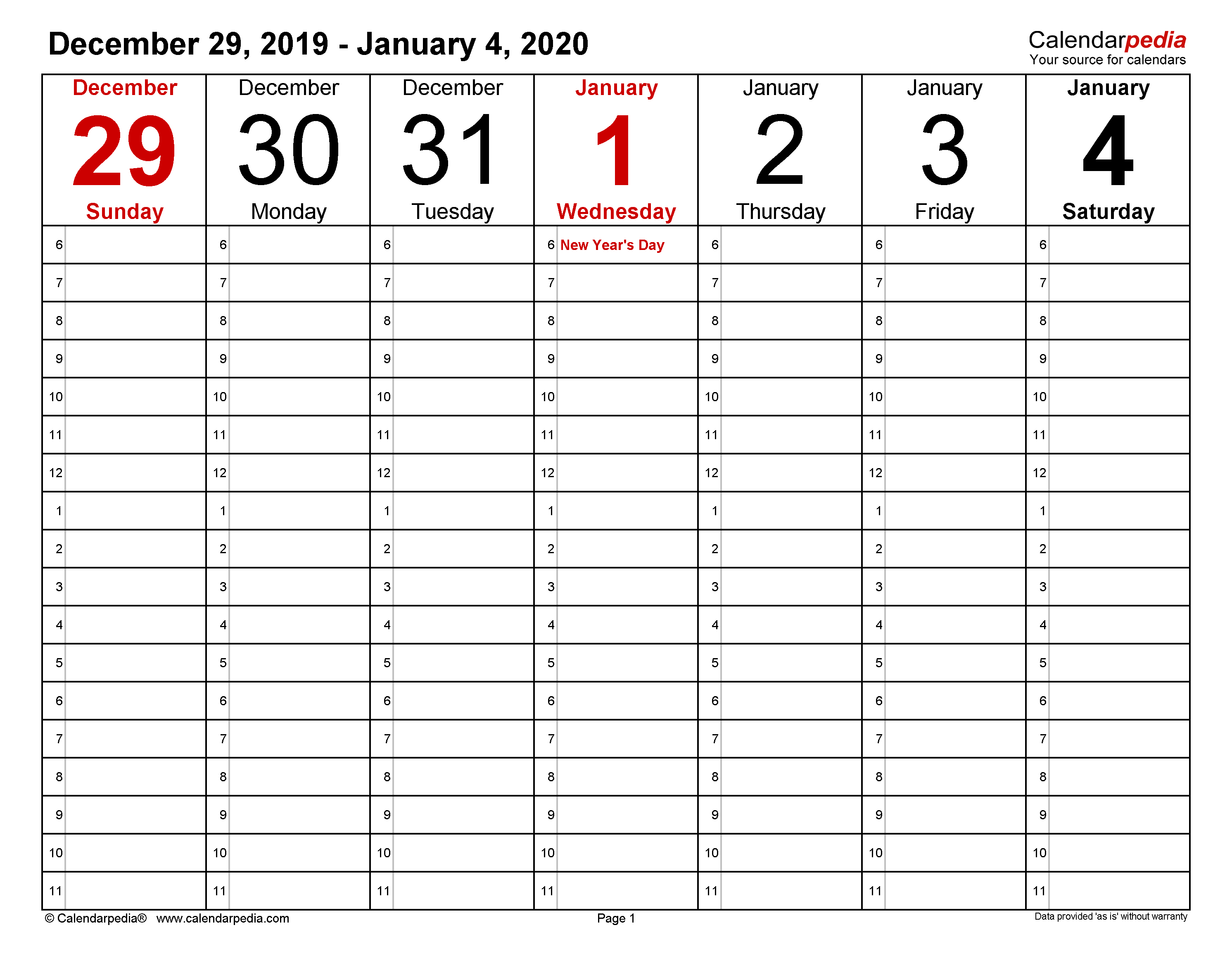 Weekly Calendars For Excel