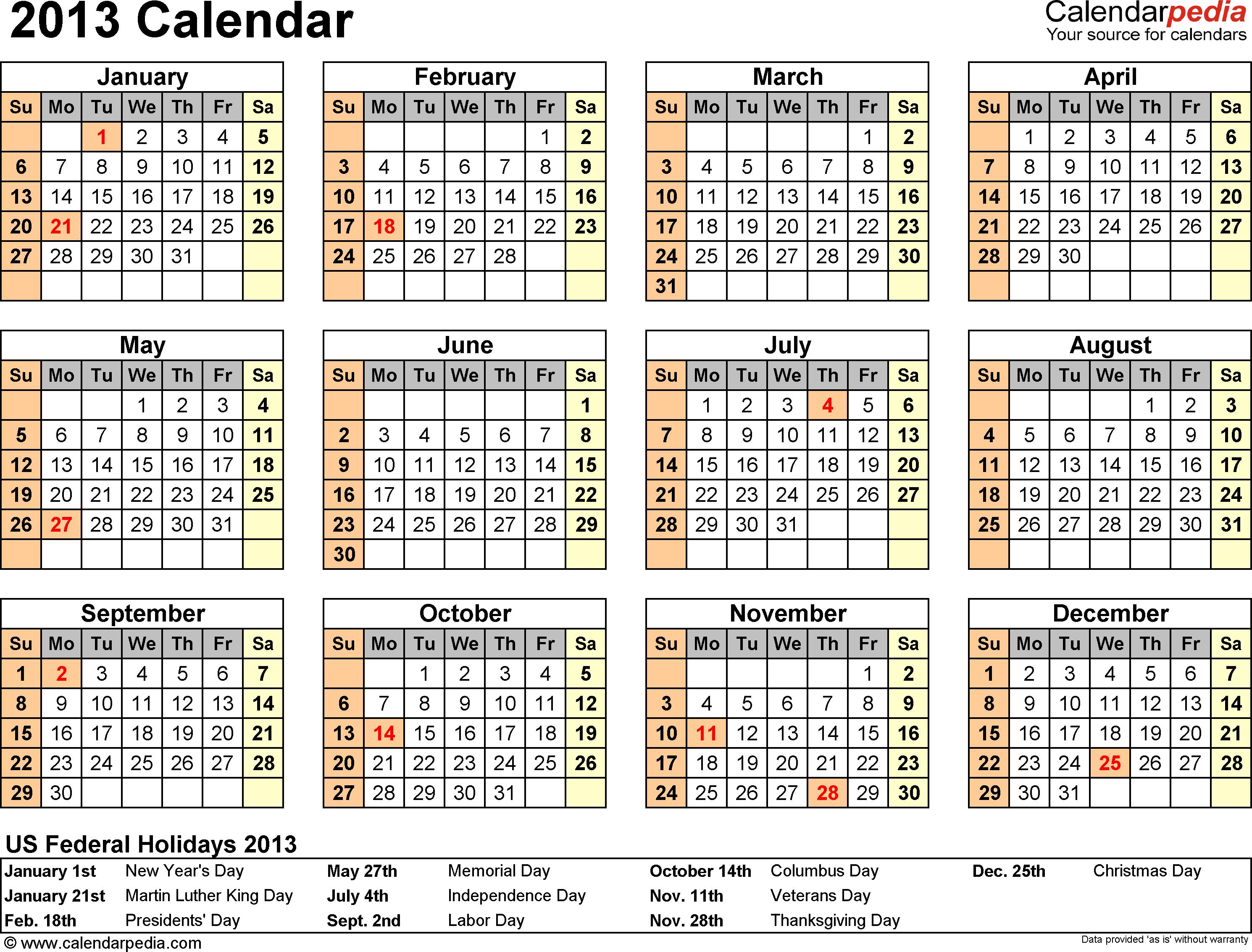 Calendar Word