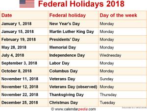 Imagini pentru list of american holidays 2018