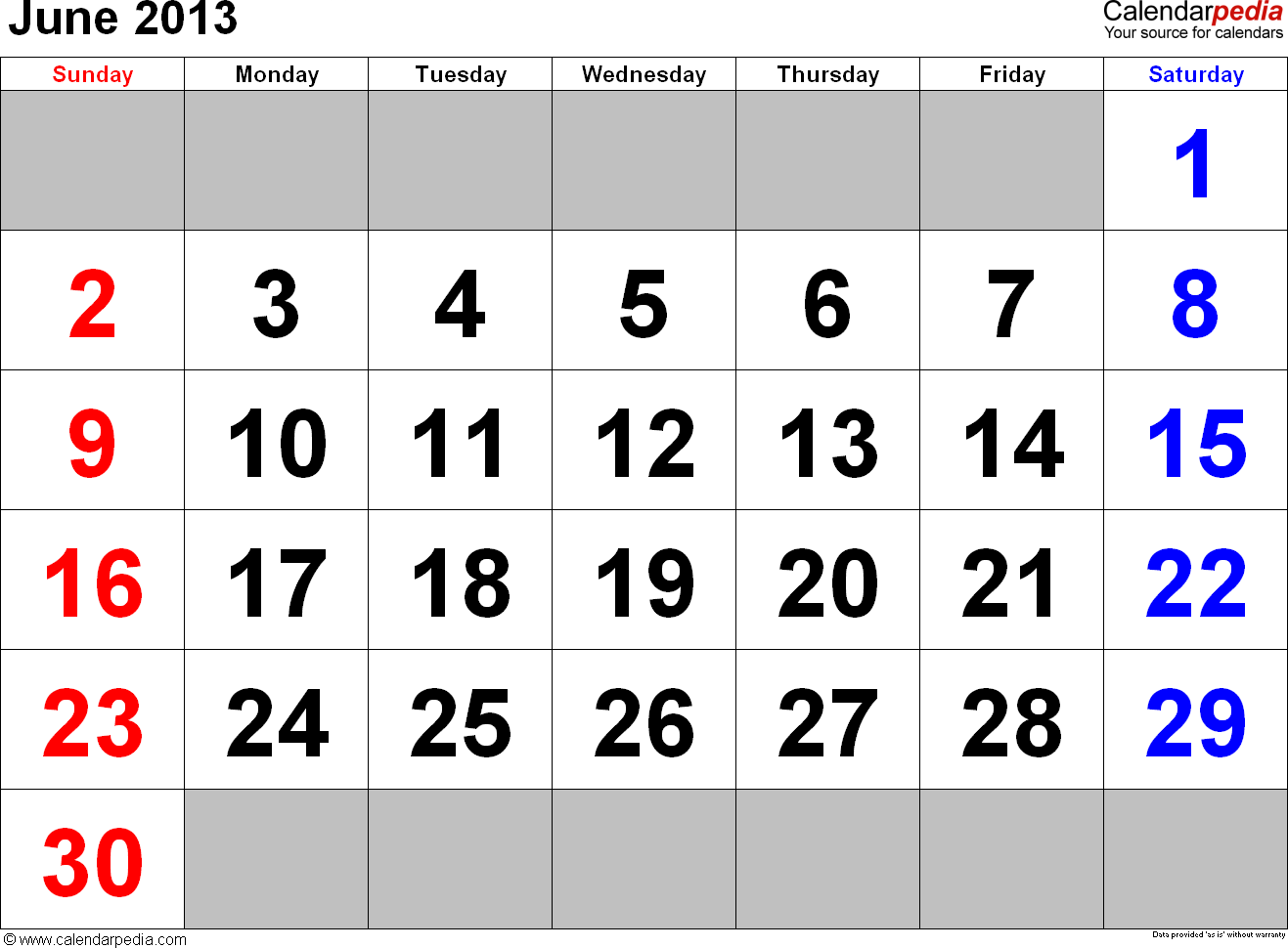 June Calendars For Word Excel Amp