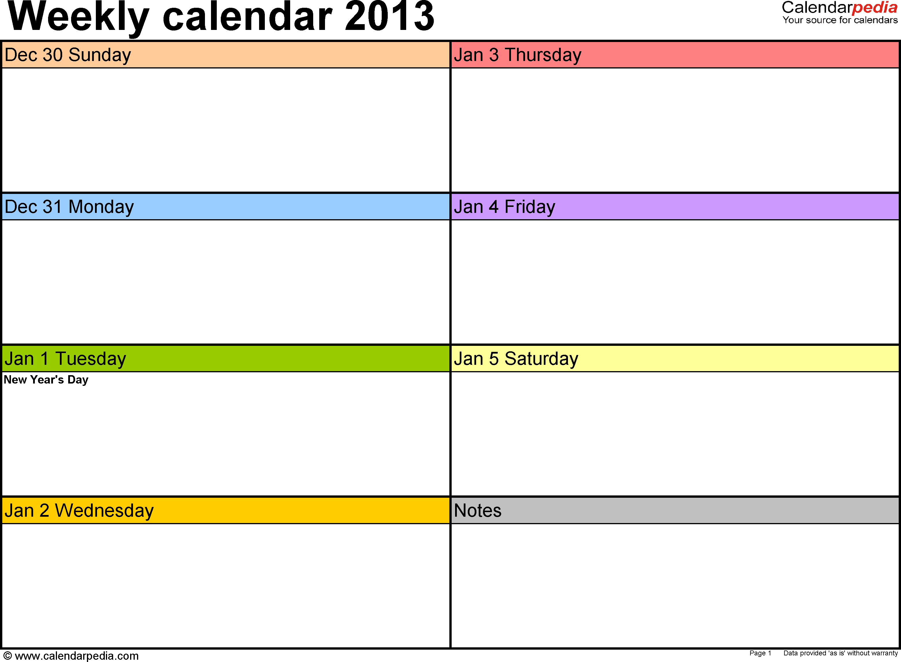 Weekly Calendars For
