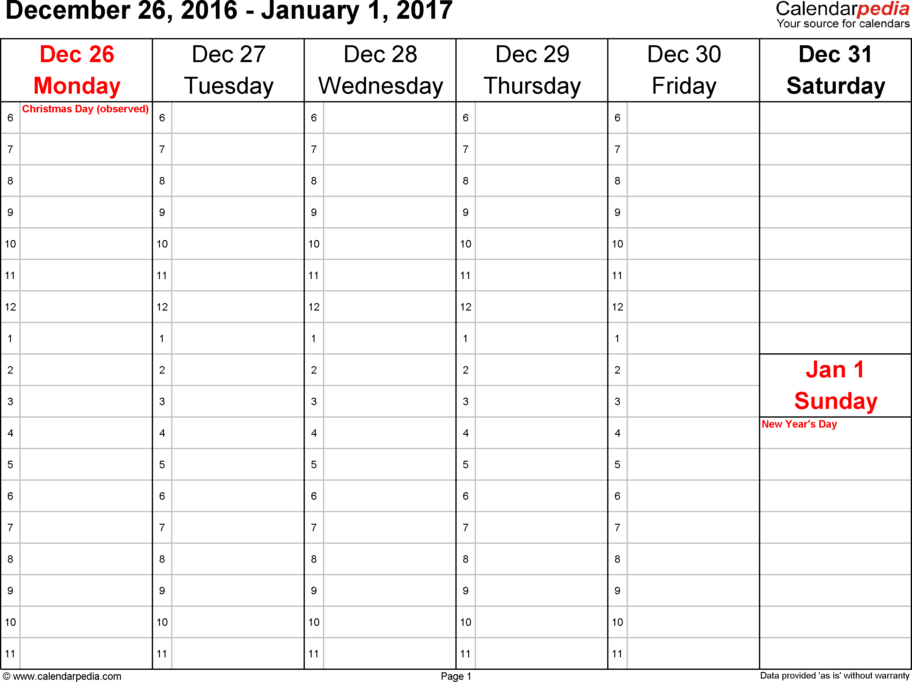 Weekly Calendar For Word