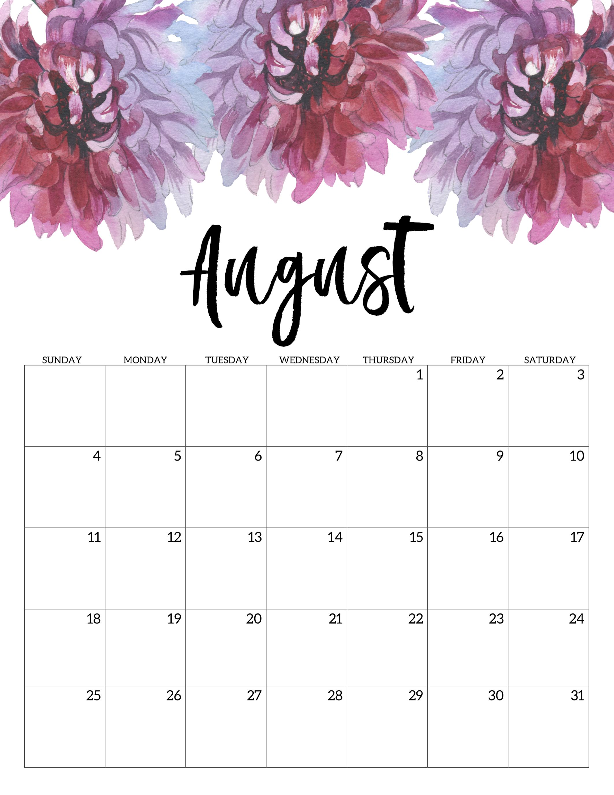 picture about Printable Monthly Calendar August named August 2019 Calendar Template