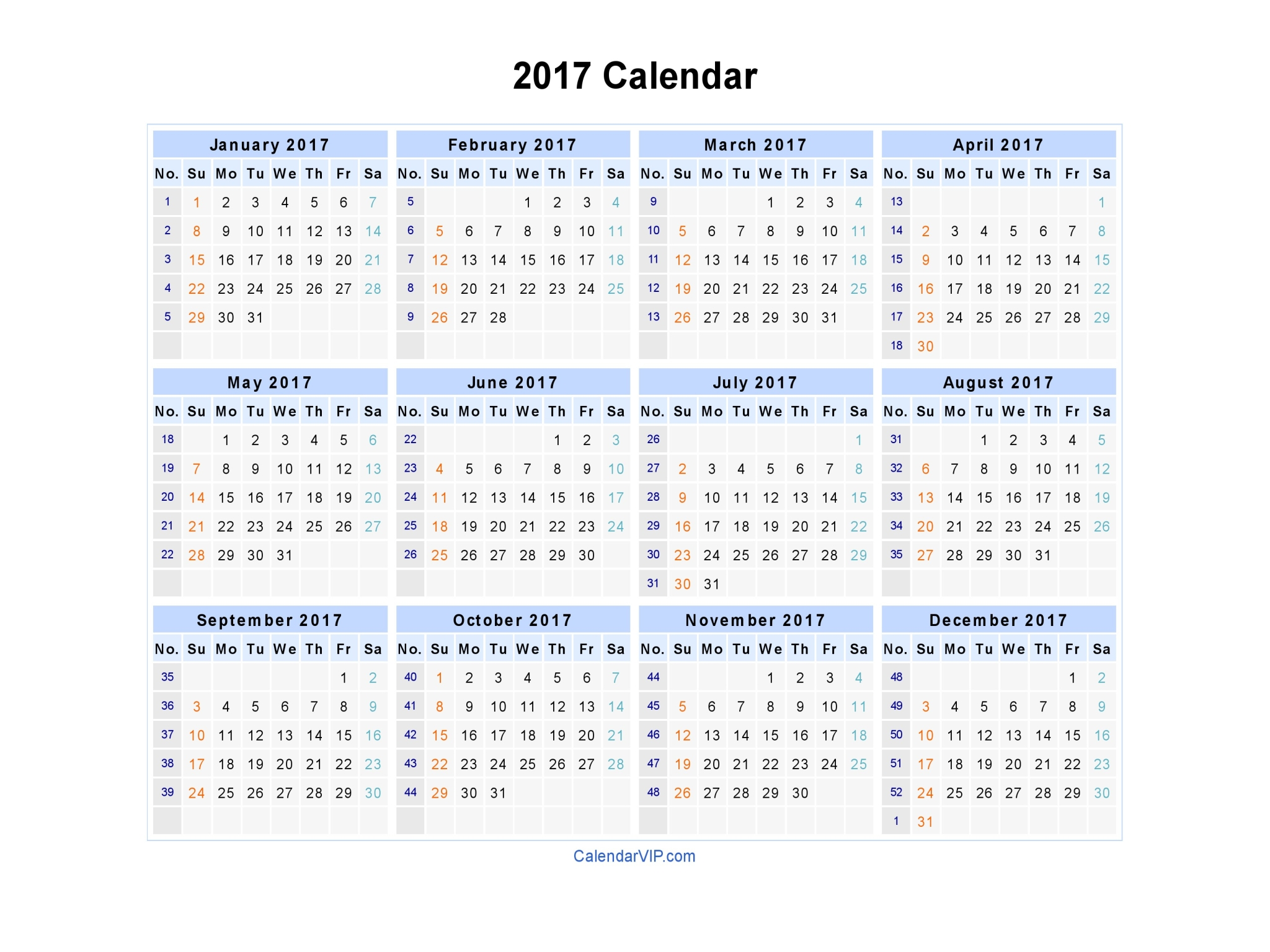 Image result for Blank Calendar 2017