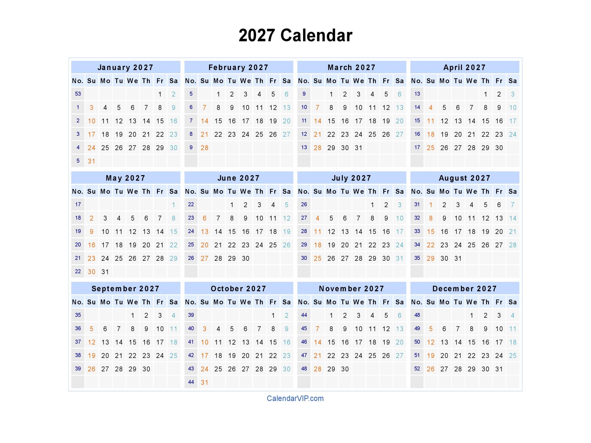 2027 calendar blank printable