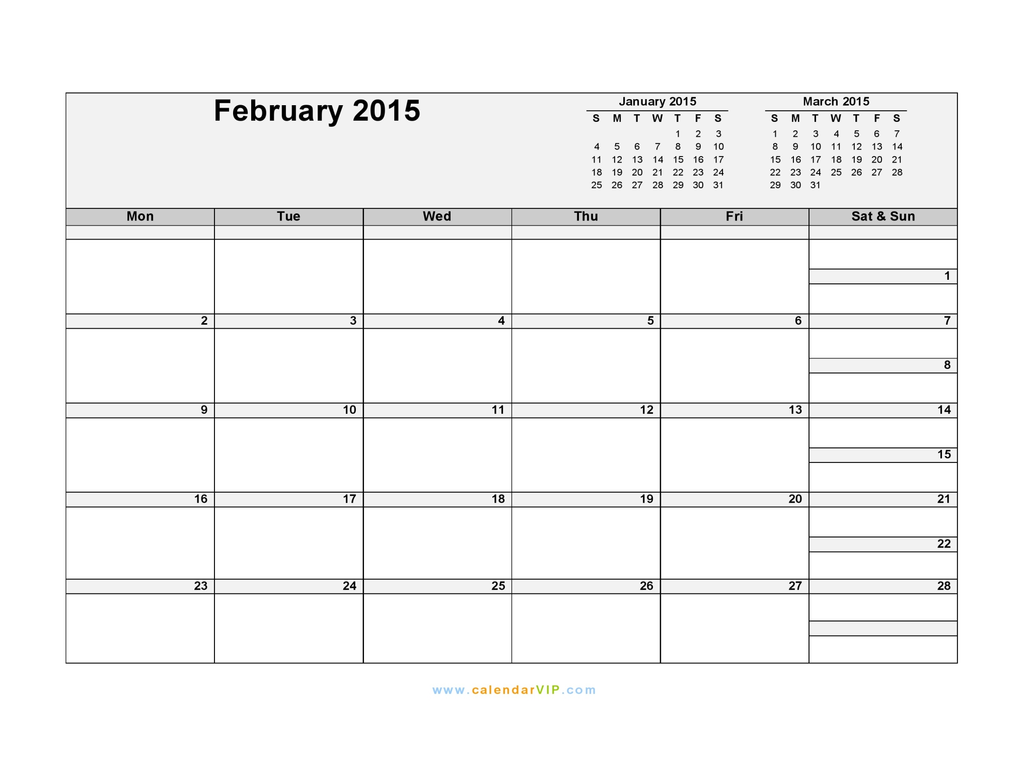 february 2015 calendar blank printable calendar template in pdf