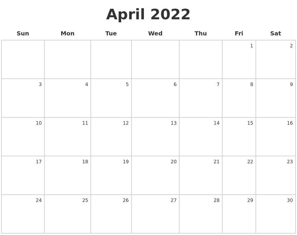 Image Result For Blank Monthly Calendar April