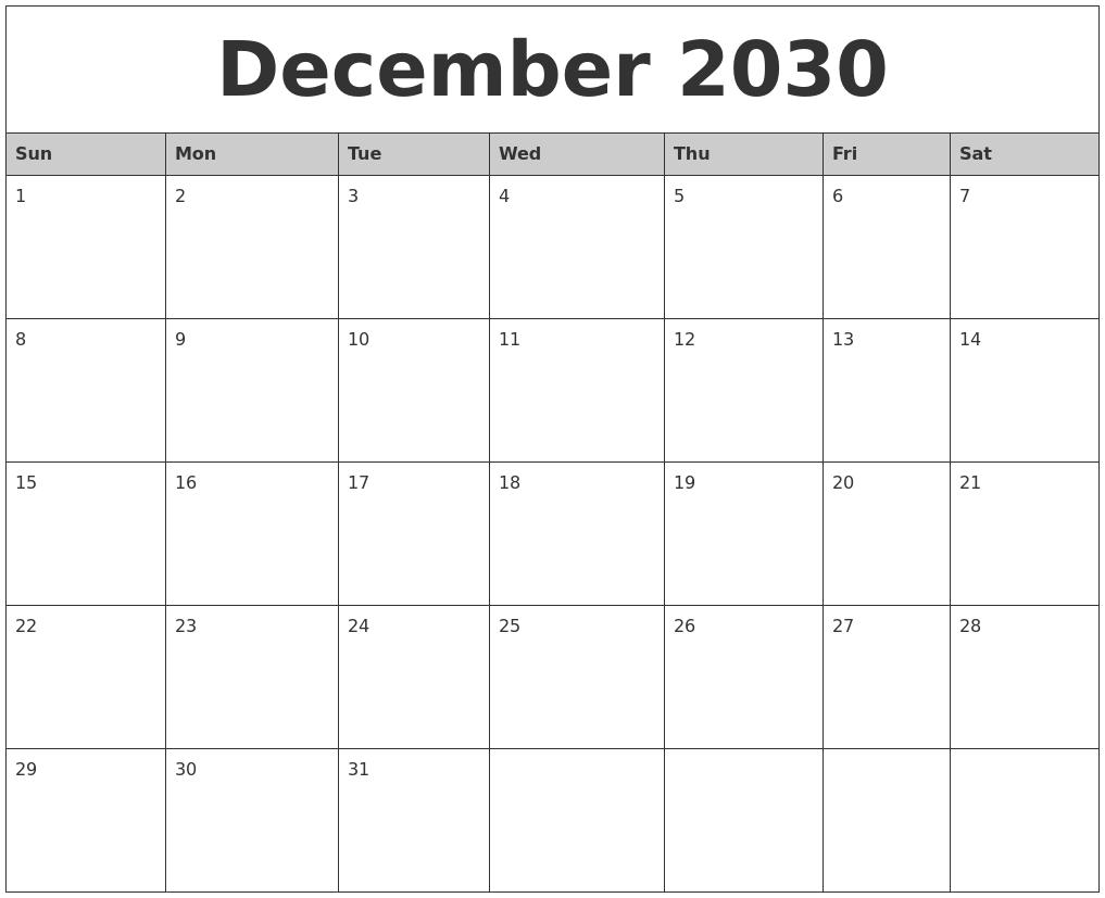 December 2030 Monthly Calendar Printable