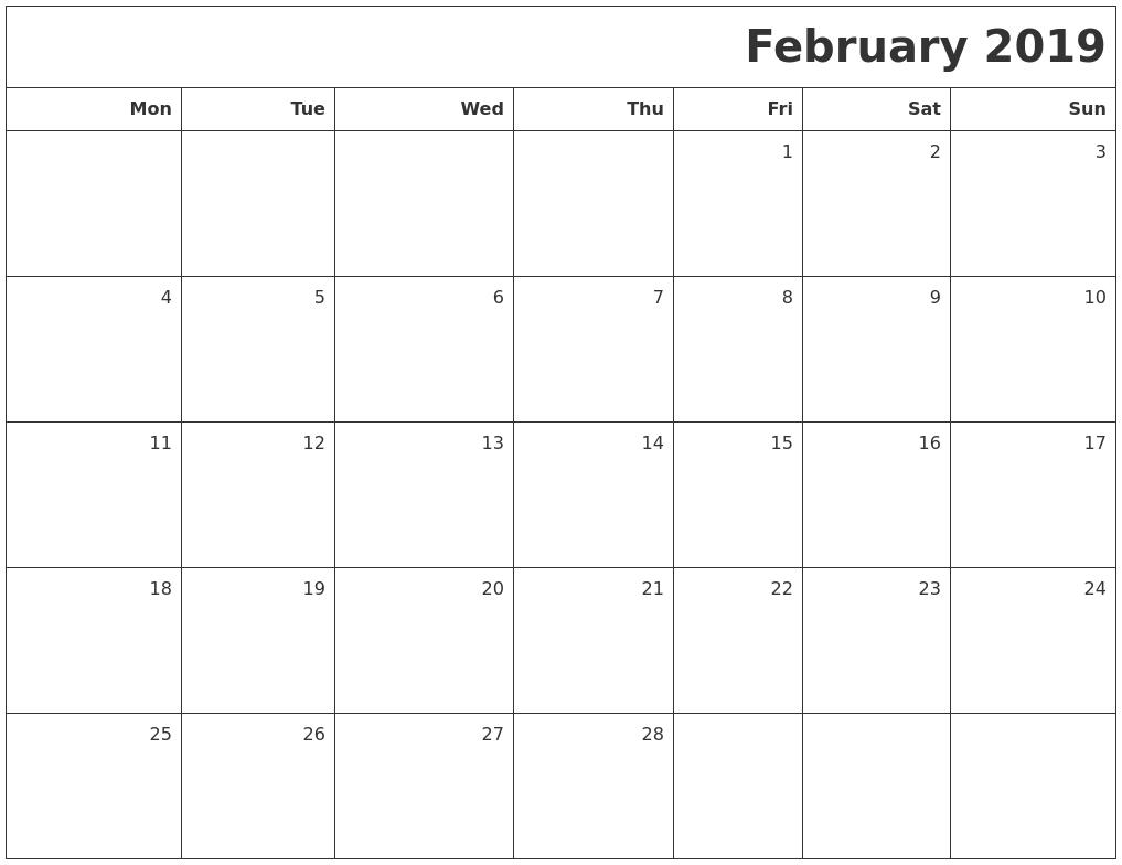 Image Result For February Calendar Printable