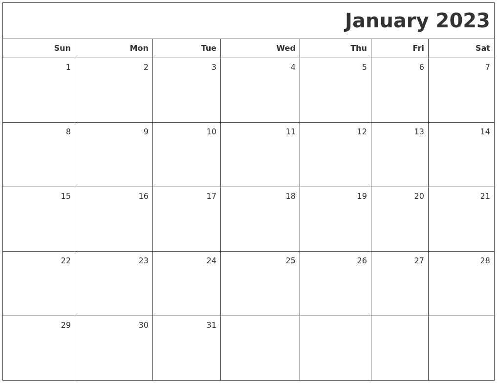 Image Result For January Blank Printable Calendar
