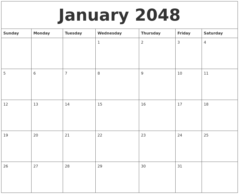 January 2048 Printable December Calendar