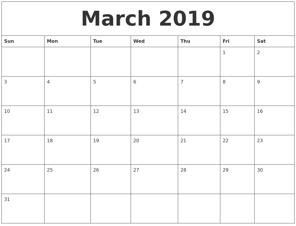 Image Result For Free March Calendar Printable